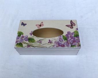 Wooden tissue box/ purple flowers shabby chic