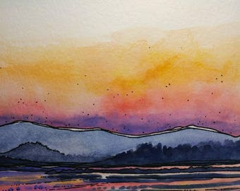 Wickiup Reservoir,ORIGINAL watercolor,mountain art,landscape art,pen and ink,nature painting,Portland,Oregon,pacific northwest,sunset,5×7