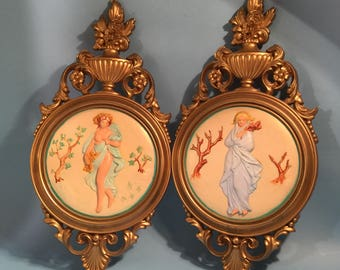 Set of Two Syroco Decorative Ornate  Wall  Hanging Frames /Victorian Style French Painted Wall Art