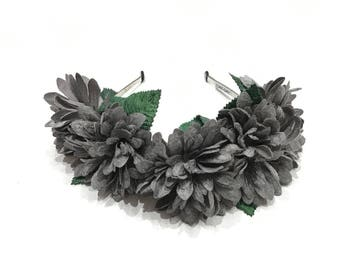 FREE SHIPPING - Grey Velvet Flowers With Leaves Headband - Floral Wreath - Flower Headband - Floral Crown