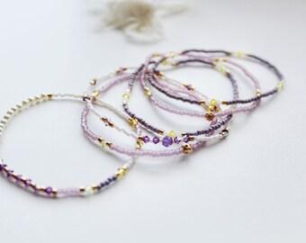 6 tiny bead bracelet, Stacking  bracelet,stretch cord bracelets with Swarovski,layering bead bracelets,thin bracelets,delicate bracelets,