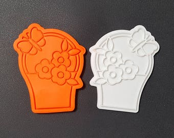 Butterfly Flower Basket Cookie Cutter and Stamp