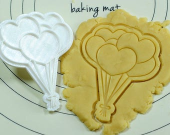 Heart Balloons Cookie Cutter and Stamp