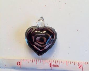 Destash Black and Purple Glass Heart Pendant