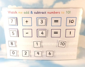 Add and subtract numbers to 10, Teaching resource, Learn numbers, Year 1, Year 2, removable pieces, KS1, Numeracy resource, Home school