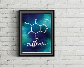 Caffeine molecule - printable nerdy prints molecule science chemistry blue hand lettered nerd watercolor men father's day