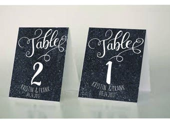 Custom Printable Folded Table Numbers 1-20 Wedding Table Numbers Chalkboard Table Numbers Folded Table Numbers hand lettered sign Kristin
