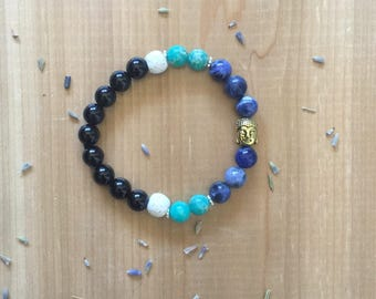 Essential Oil, Diffuser Bracelet, Black Agate Beads, Sodalite Beads, Green Imperial Beads, White Lava Beads, Gold Spacer Beads, Gold Buddha