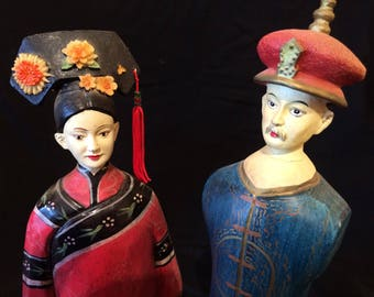 Vintage Pair of Dolls, Peg Dolls, Wooden Dolls, Ethnic, Traditional, Hand Made, Hand Painted, Man and Woman - 1980