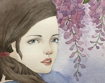 kimono woman- original watercolor painting
