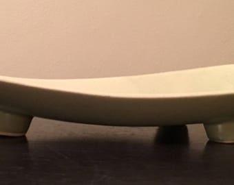 Beautiful, vintage, Brush McCoy low console bowl, dish, planter, pottery, light green, 016, USA, Floraline