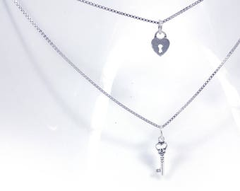 Love Lock and Key Necklace in Solid Sterling 925 Silver (SN024)