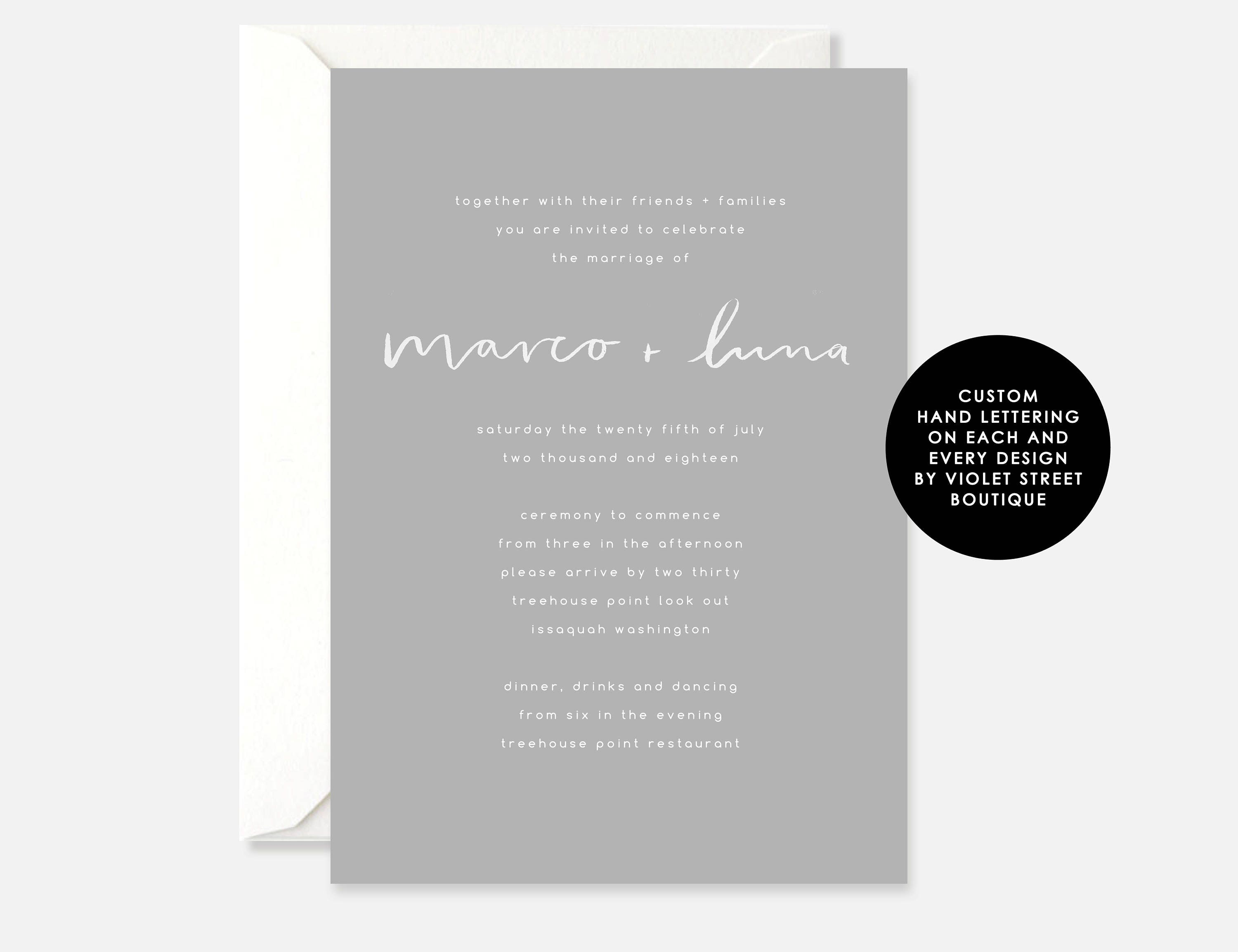 Printable Wedding Invitation, Digital Download Wedding Invite, Hand ...
