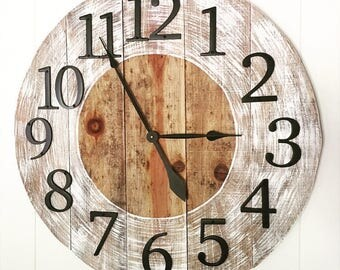 """27"""" Rustic White Distressed Wall Clock - Metal Numbers 