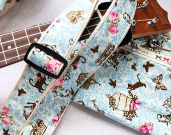 Promotion Price! NuovoDesign Romantic crown Multi-functional strap with velcro for ukulele,uke, easy to use