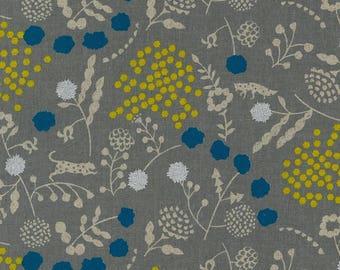Echino Linen Canvas - Kokka Japanese Fabric - Echino 2018 Sprout in Gray - Metallic Canvas Fabric - Half Yard (about 50cm) Pre Cut
