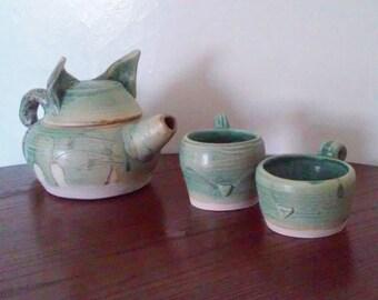 Kitty Decorative Tea Set - Handmade Pottery