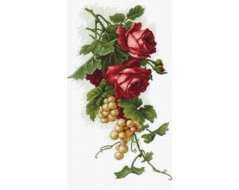 Counted Cross Stitch Kit  Red roses with grapes Counted Cross Stitch DIY Luca-S