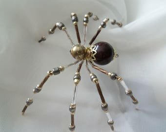 Gold & Brown Beaded Spider