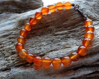 Carnelian Bracelet, Gemstone Bracelet, Carnelian Jewelry, Red Gemstone, orange gemstone