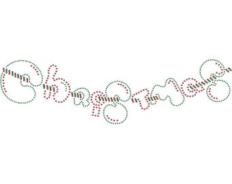 Christmas Banner Applique, Rhinestuds Iron On, DIY Iron On Heat Press Transfer