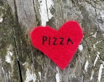 Hand Embroidered Iron On Felt Patch Pizza Heart