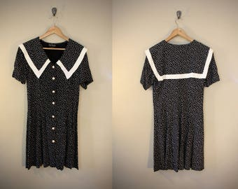 Women's Vintage 80's Sailor Mini Dress Size Medium / Black and White / Button Down Short Sleeve / Polka Dot / Sundress Summer Hipster Retro