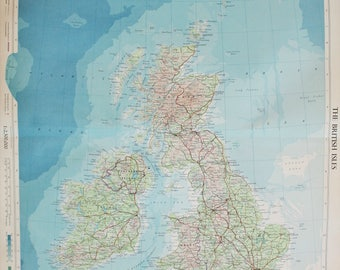 Vintage Map of British Isles, Great Britain and Ireland, 1950s Cold War Era. Lovely Pastel Colours (54)