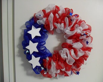 Fourth of July, Independence Day, Fourth of July Wreath, Independence Day Wreath, Red, White and Blue Wreath