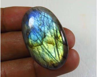 Natural Labradorite cabochon. 39.70Cts. Blue Flash Labradorite Gemstone. 35x22 mm. Oval Shape Spectrolite Blue labradorite loose. LB-25