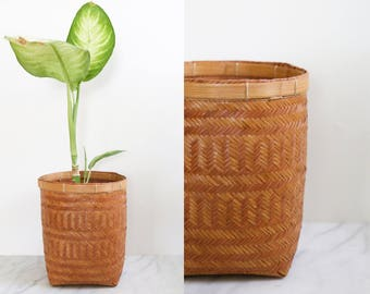 Straw Woven Basket // Plant Basket