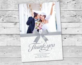 Printable Thank You Cards Wedding / Photo Thank You Cards Silver - Design ID: 19-23A