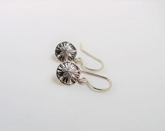 Sterling Silver Sand Dollar Hand Forged Earrings