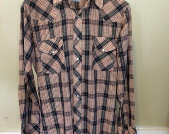 Vintage 1970s Miller plaid western shirt with lurex thread/size medium