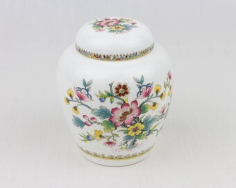 Vintage Jar / Coalport Bone China / Ginger Jar / MING ROSE. Flower Design / Turquoise / Pink / Yellow