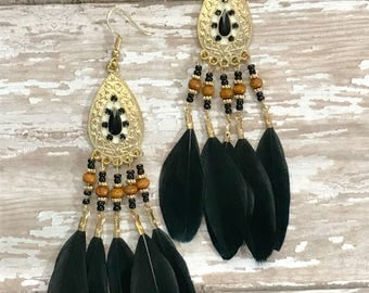 Handmade Feather Earrings, Dangle Earrings, Feather earrings, Boho jewelry,Western earrings, Fashion earrings,Gift for her,Handmade jewelry