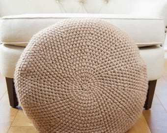 Chunky Crochet Pouf Floor Pillow, Floor Cushion