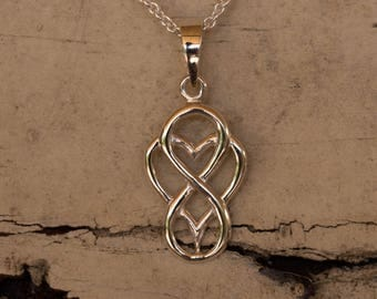 Infinity Heart Necklace Charm, Everlasting Love Charm, Sterling Silver Pendant, Silver Heart Pendant Only , Infinity Jewellery, Charm