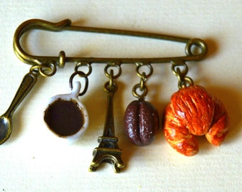 """Miniature, jewel, brooch """" I love Paris"""" polymer clay"""