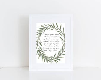 I Carry Your Heart, Wedding Gift, Wall Art, Decor, Print, Anniversary