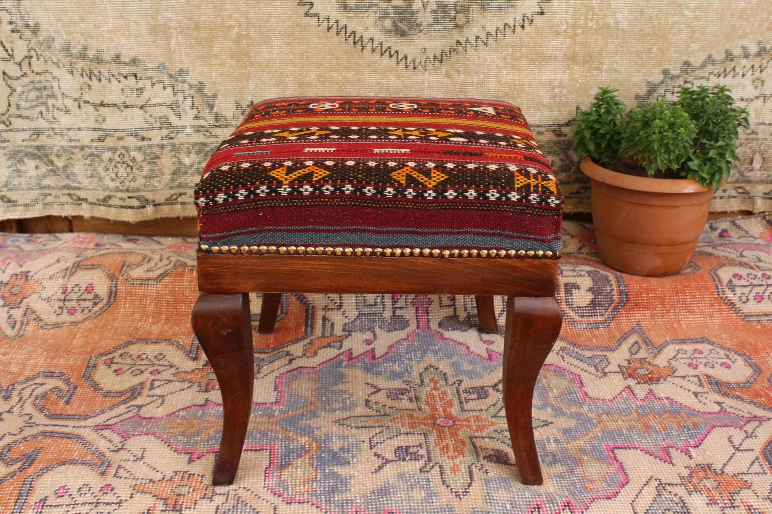 Turkish Kilim Rug Footstool Wood Chair Handcrafted Vintage Rug