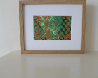 Abstract Weaving Artwork in Green and Red Home Décor Small Wall Art Ready To Ship