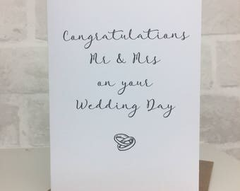 Mr & Mrs wedding day, wedding card, bride and groom card, wedding gift