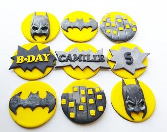 Batman cupcake toppers fondant Edible Personal name handmade 9 psc