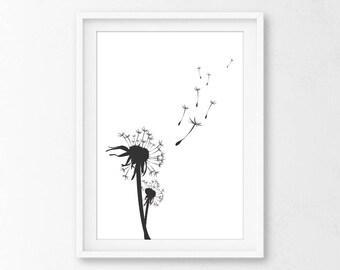 Dandelion Wall Print - Dandelion Bedroom - Wall Print Dandelion - Dandelion Print, Dandelion Printable - Dandelion Art Print