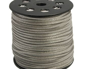 1 meter of silver glitter 3 mm suede cord