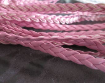 Pink faux flat braided leather cord 5 mm