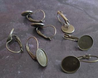 10 blank earrings sleepers bronze 12mm cabochon