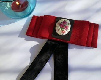 brooch bow in velvet and grosgrain