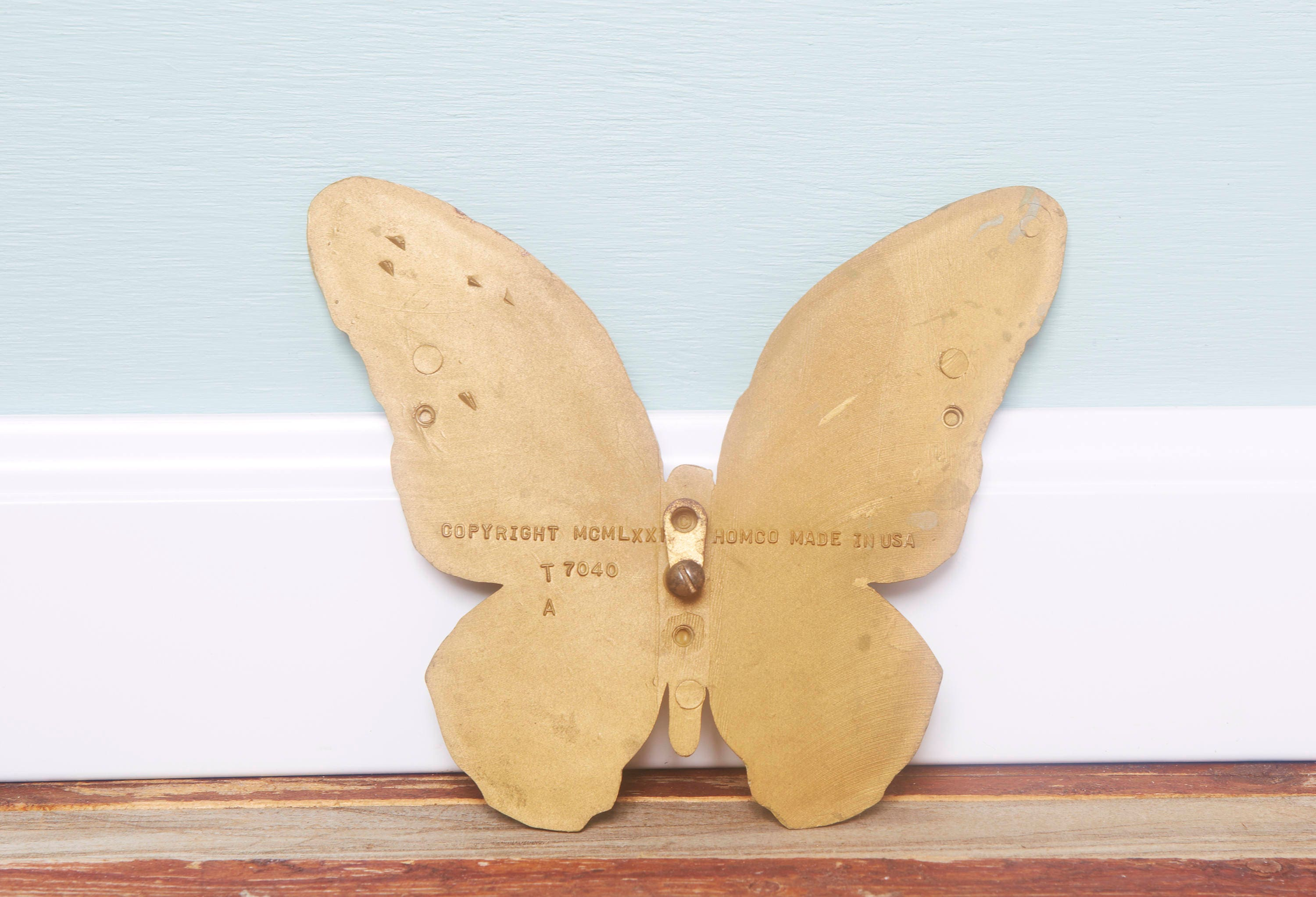 ON SALE 70\'s Wall Decor Vintage Butterfly Wall Hanging-Gold ...